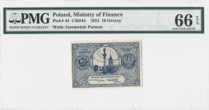 Bilet Zdawkowy - 10 groszy 1924 - PMG 66 EPQ