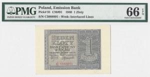 1 złoty 1940 - seria C - PMG 66 EPQ