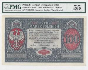 100 marek polskich 1916 - jenerał numeracja 7 cyfrowa - PMG 55