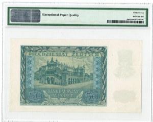50 złotych 1940 - seria A - PMG 67 EPQ - MAX nota
