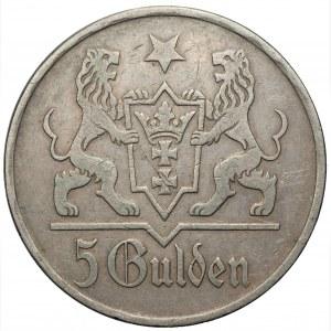 Wolne Miasto Gdańsk - 5 guldenów 1923 - Kościół Mariacki