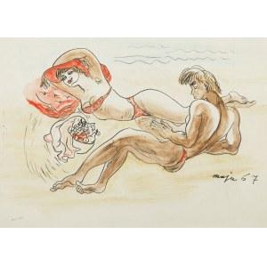 Maja Berezowska (ur.1883-1978), Na plaży, 1967