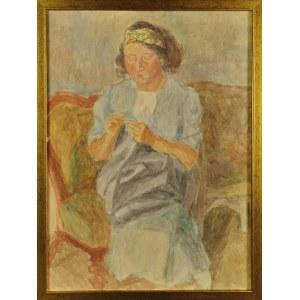 Leonard PĘKALSKI (1896-1944), Pani Wanda P. szyjąca  na kanapie