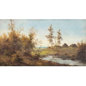 Józef Guranowski (1852-1922), Pejzaż z dwiema chatami w tle
