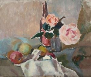 Mieczysław Tadeusz Janikowski (1912 Zaleszczyki na Ukrainie - 1968 Kraków), Martwa natura z kwiatami róży, lata 30. XX w.