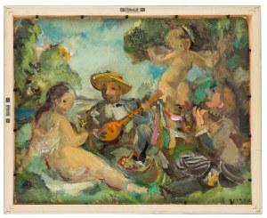 Ludwik Klimek (1912 Skoczów - 1992 Nicea), Obraz dwustronny: Akt / Muzykowanie na trawie