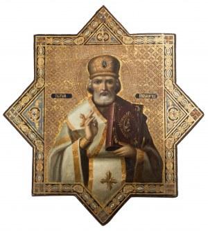 Ikona procesyjna, dwustronna, Św. Mikołaj i M.B. Kazańska, XIX / XX w.