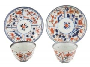 Para czarek na sake w stylu Imari, Arita, Japonia, okres Edo, I poł. XVIII w.