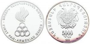 Armenia 5000 Dram 1999 First Pan-Armenian Games. Averse: National arms. Reverse: First Pan...