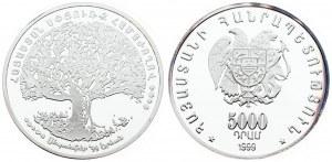 Armenia 5000 Dram 1999 Pan-Armenian Congress. Averse: National arms. Reverse: Large tree logo of the First Pan...
