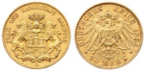 Germany HAMBURG 20 Mark 1894 J Averse: Helmeted arms with lion supporters. Averse Legend: FREIE UND HANSESTADT HAMBURG...