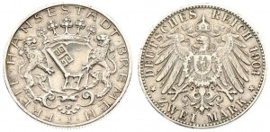 Germany BREMEN 2 Mark 1904 J Averse: Key on crowned shield with supporters. Reverse: Crowned imperial eagle...