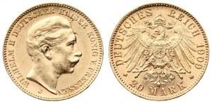 Germany PRUSSIA 20 Mark 1909 J Wilhelm II(1888-1918). Averse: Head right. Averse Legend...
