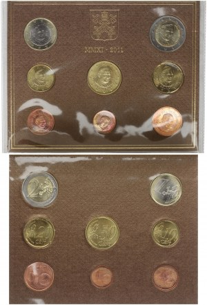 Italy Vatican 3.88 Euros 2011 KMS Official rate with all coins (1 cent to 2 euros); in the Original Folder...