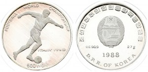 Korea-North 500 Won 1988 World Championship Soccer. Averse: National arms above date and D.P.R. of Korea. Reverse...