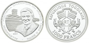 Togo 1000 Francs 2001 World Cup Soccer - Bern 1954. Averse: National arms. Reverse: Bust facing and tower...