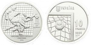 Ukraine 10 Hryven 2004 Football World Cup - 2006. Averse: Soccer ball in net. Reverse: Two soccer players...