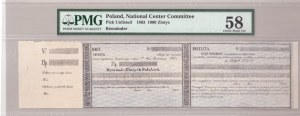 Lithuania 1000 Zlotych 1863 KAUNAS Banknote National Center Committee. Pick Unlisted. Lucow#215.  Remainder...