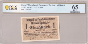 Lithuania MEMEL 1 Mark 1922 Chamber of Commerce; Territory of Memel. Pick # 2; Ros.847. Serial # 339749...