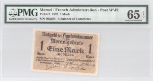 Lithuania 1 Mark 1922 Memel French Administration Banknote. S/N 002594. Chamber of Commerce. Pick#2...