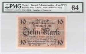 Lithuania 10 Mark 1922 Memel French Administration Banknote. S/N 009562. Chamber of Commerce. Pick#5b...