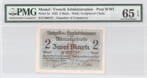 Lithuania 2 Mark 1922 Memel French Administration Banknote. S/N 000737. Chamber of Commerce. Pick#3a...