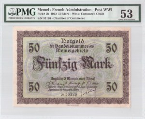 Lithuania 50 Mark 1922 Memel French Administration Banknote. S/N 33126. Chamber of Commerce. Pick#7b...