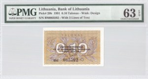 Lithuania 0.1 Talonas 1991 Banknote Bank of Lithuania. S/N BM065592. Pick#29b...