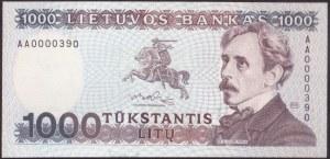 Lithuania 1000 Litu 1991 Banknote P#52 № AA0000390