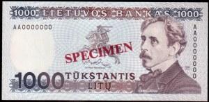 Lithuania 1000 Litu Specimen 1991 Banknote P#52s № AA0000000