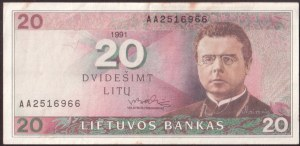 Lithuania 20 Litu 1991 Banknote Bank of Lithuania. S/N AA2516966. P#48