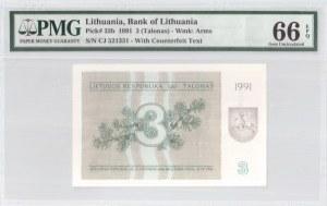 Lithuania 3 Talonas 1991 Banknote Bank of Lithuania. S/N CJ 521331. Pick#33b...