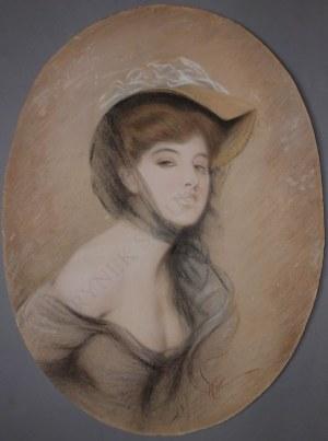 A.N.(pocz.XX w.), Portret damy w tiulach