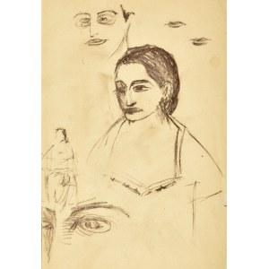 Roman Opałka (1931-2011), Szkic popiersia kobiety z lewego profilu, luźne szkice twarzy, ust, oczu oraz szkic zarysu postaci kobiety