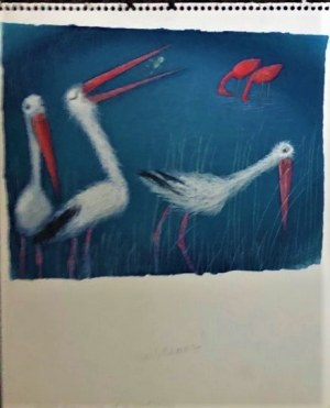 Józef Wilkoń,ilustracja do książki Flamingos