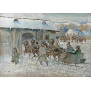 Jerzy KOSSAK (1886-1955) i pracownia, Napoleon na saniach - Epizod z Wielkiej Wojny, 1955