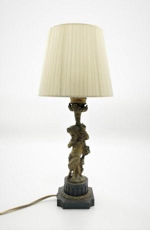Lampa buduarowa z postacią Fauna, elektryczna
