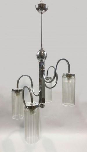 Lampa wisząca art déco, elektryczna, czteroramienna