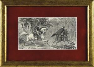 Juliusz Kossak (1824-1899), Mohort i Krasicki jadą do monasteru po proroczym śnie Pana Mohorta o śmierci