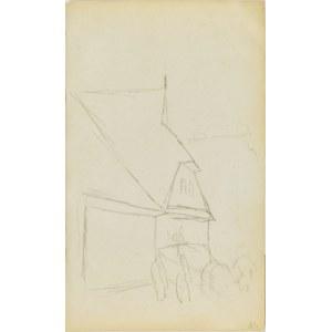 Jacek Malczewski (1854-1929), Szkic budynku ze stojącym przed nim wozem z zaprzężonym koniem