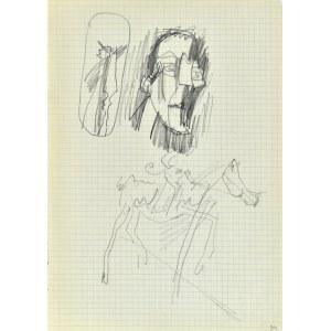 Jerzy Panek (1918-2001), Szkice męskich głów, Don Kichot na koniu, po 29.01.1970