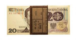 Polska, PRL 1944 - 1989, 20 ZŁOTYCH 1.06.1982, paczka bankowa, seria AS, Warszawa.