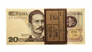 Polska, PRL 1944 - 1989, 20 ZŁOTYCH 1.06.1982, paczka bankowa, seria AT, Warszawa.