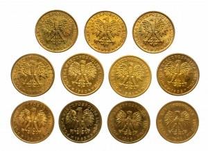 Polska, PRL 1944-1989, 2 złote 1975-1988 mosiądz, zestaw 11 różnych roczników