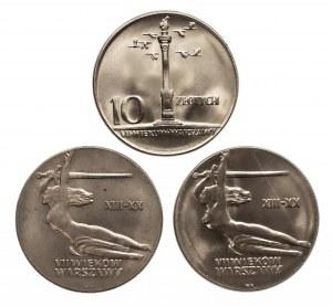 Polska, PRL 1944-1989, zestaw 3 monet 10 złotych Nike, Kolumna Zygmunta 1965