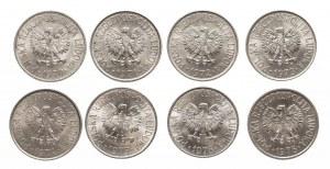 Polska, PRL 1944-1989, 50 groszy - zestaw 8 roczników