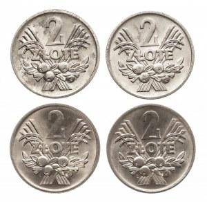 Polska, PRL 1944-1989, 2 złote 1974, zestaw 4 monet
