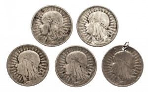 Polska, II Rzeczpospolita 1918-1939, 2 złote 1932-1934, zestaw 5 monet