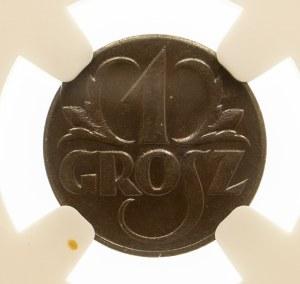 Polska, II Rzeczpospolita 1918-1939, 1 grosz 1923, Birmingham. NGC MS 65 BN.