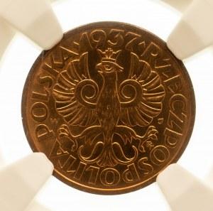 Polska, II Rzeczpospolita 1918-1939, 2 grosze 1937, Warszawa. NGC MS 66 RD.